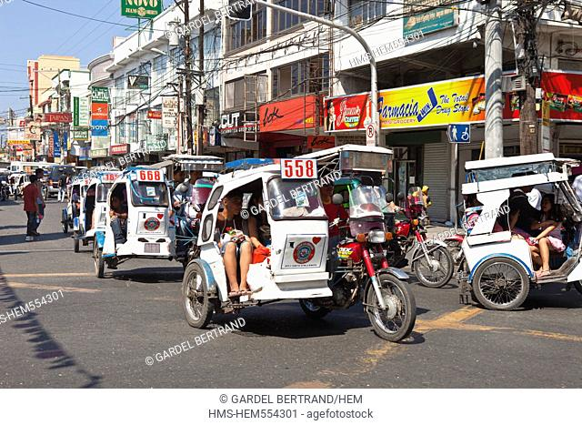 Philippines, Luzon island, La Union, San Fernando, motorcycle taxis