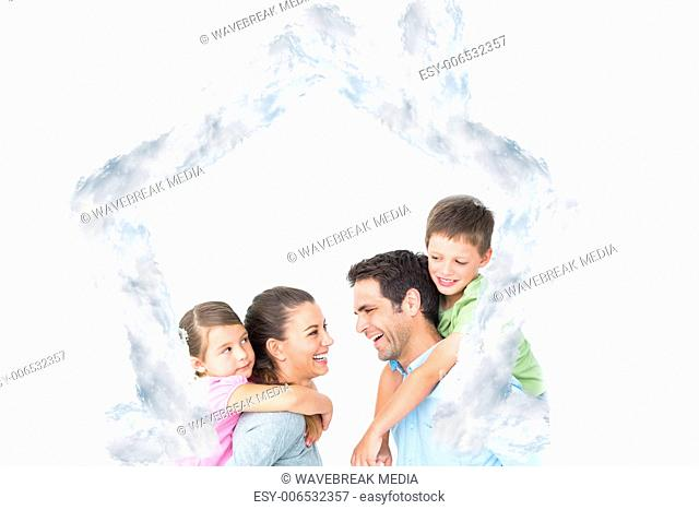 Composite image of cheerful young family posing
