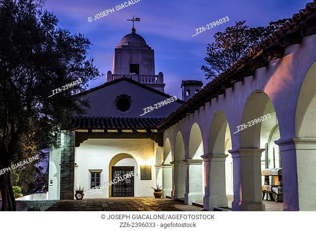 View of the Junipero Serra Museum building at night. Presidio Park, San Diego, California, United States