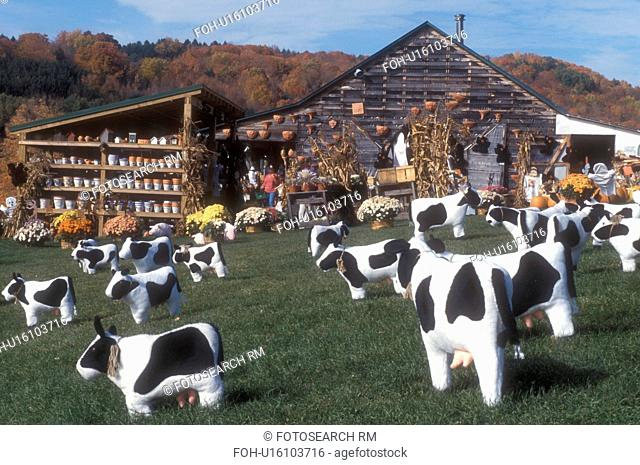 humor, country market, fall, Quechee, VT, Vermont, Cow lawn decorations are displayed on the lawn in front of a country store in Quechee in autumn