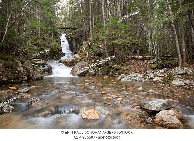 Crawford Notch State Park - Pearl Cascades during the spring months. Located on Crawford Brook next to the Avalon Path in Bethlehem, New Hampshire USA