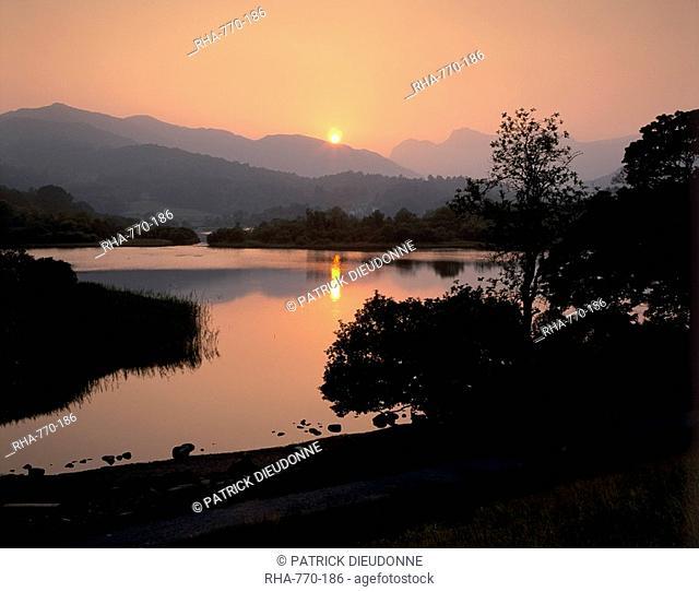 Sunset on Elter Water, near Ambleside, Lake District National Park, Cumbria, England, United Kingdom, Europe