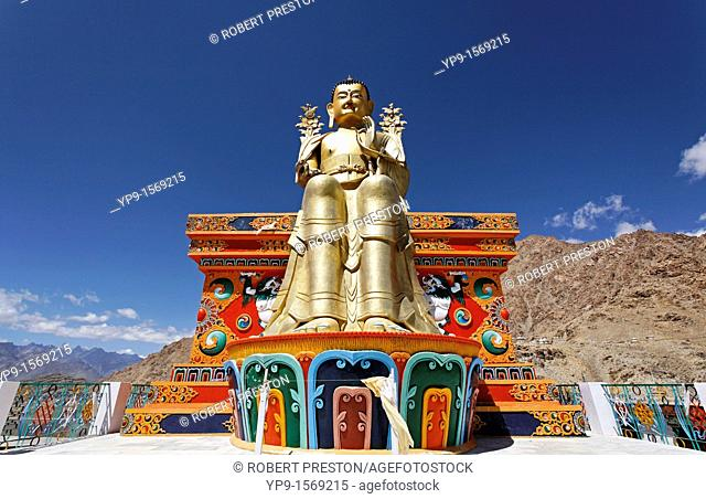 Golden Buddha statue at Likir Gompa, buddhist monastery, in Ladakh, India