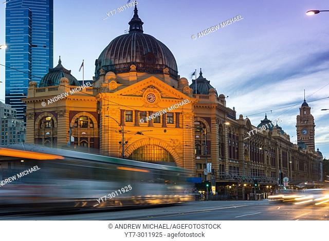 Flinders Street Railway Station after dark. Melbourne. Victoria, Australia