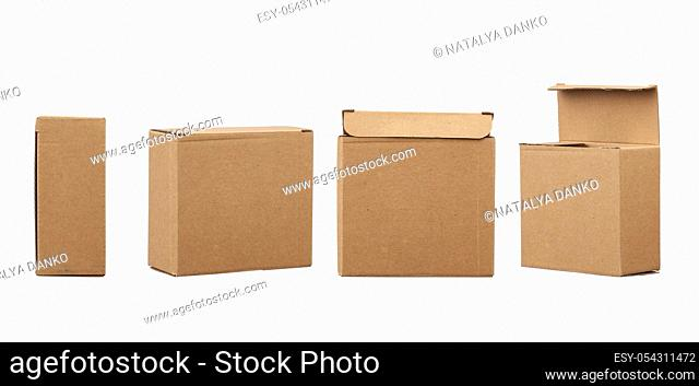 closed and open brown square cardboard box for transporting goods isolated on white background. Packaging design, set