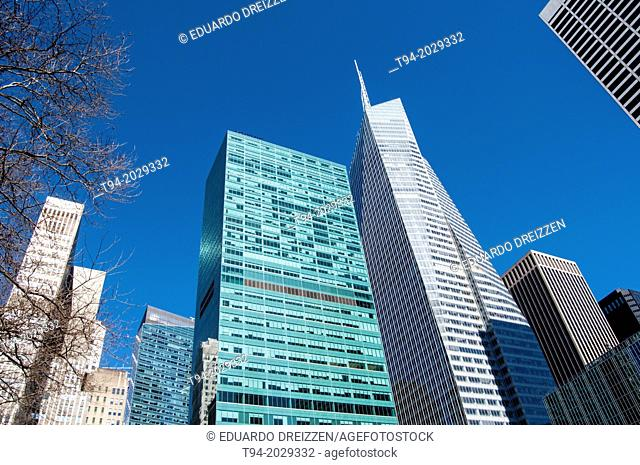 Skyscrapers surrounding Bryant Park in Midtown Manhattan, New York City