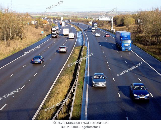 The M1 motorway near Chesterfield, Derbyshire, England