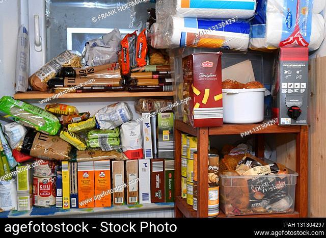 Cramped cellar room with whitewashing on after Hamsterkaeufen on March 27th, 2020 due to corona, pandemic, spread, corona crisis, corona virus, virus, pathogen