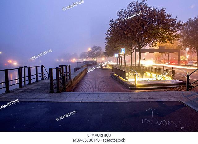 Foggy morning at Speicherstadt (warehouse district) in Hamburg, Germany