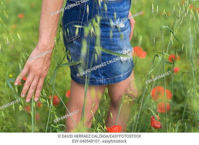 Woman enjoying a walk in a poppy field under the summer sun