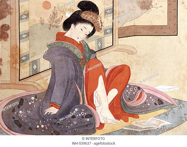 fine arts, pupil of Kesai Eisen, 1790 - 1848, graphics, 'lady masturbating while watching erotic pictures', circa 1890, colour woodcut, print on silk