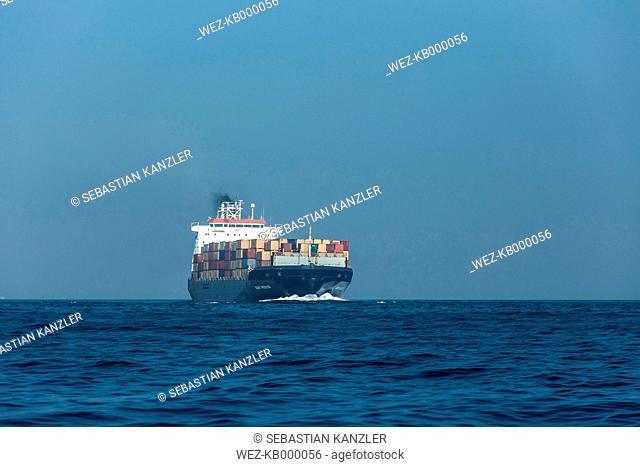 Spain, Andalusia, Tarifa, Cargo ship, Strait of Gibraltar