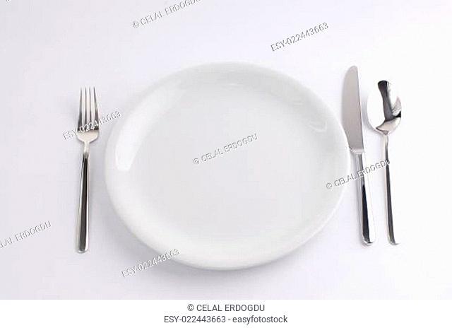 Silverware and china plate