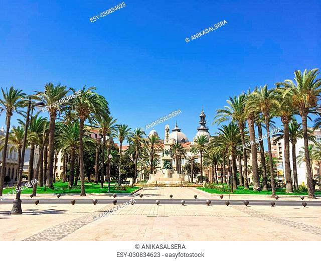 Park in the center of Cartagena, in the region of Murcia, Spain