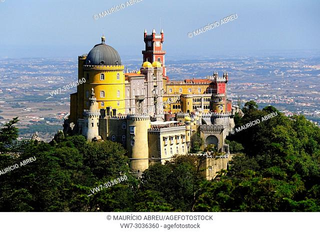 Palácio da Pena, built in the 19th century, in the hills above Sintra, in the middle of a UNESCO World Heritage Site. Sintra, Portugal