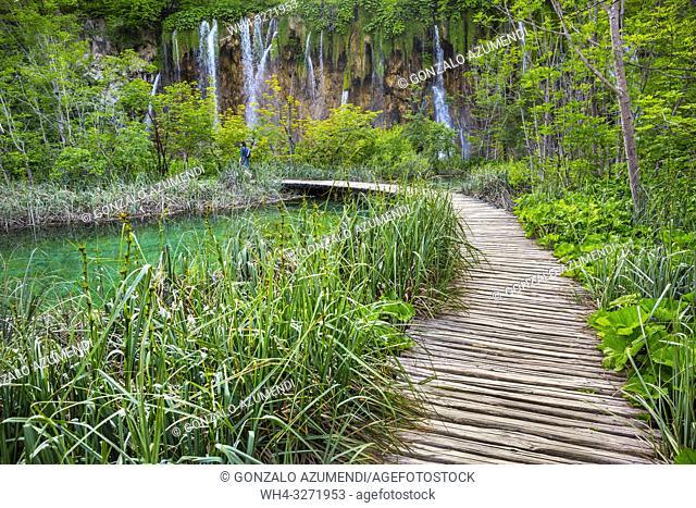 Large (Great) waterfall. Veliki Slap. Plitvice Lakes National Park. Lika Plješivica mountain range . The park falls within two counties Lika-Senj and Karlovac