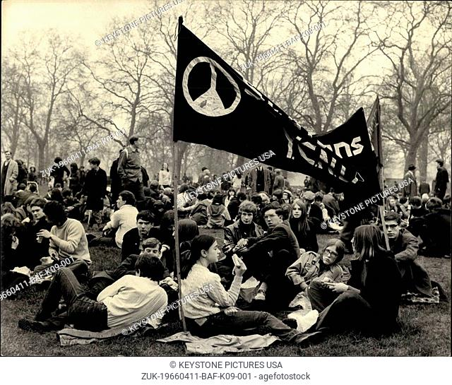 Apr. 11, 1966 - The last stage of the C.N.D. Easter March: The last stages of the Campaign for Nuclear Disarmament's Easter march from High Wycombe, Bucks