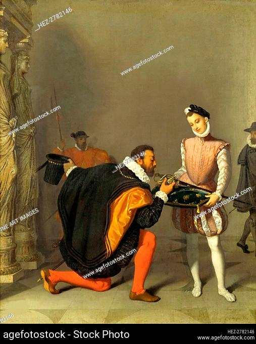 Don Pedro of Toledo Kissing Henry IV's Sword, 1819. Creator: Ingres, Jean Auguste Dominique (1780-1867)