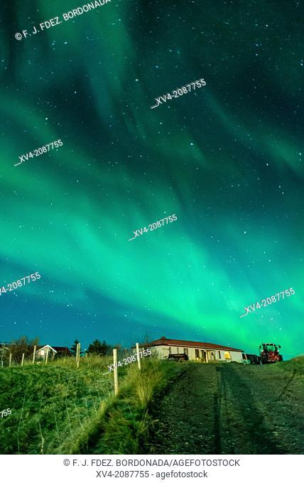 Northern lights above small village of Bleidabollstadur, Vatnajokull National Park, Iceland