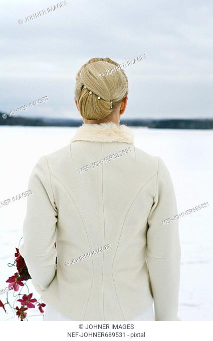 A Scandinavian woman dressed for her wedding, Sweden