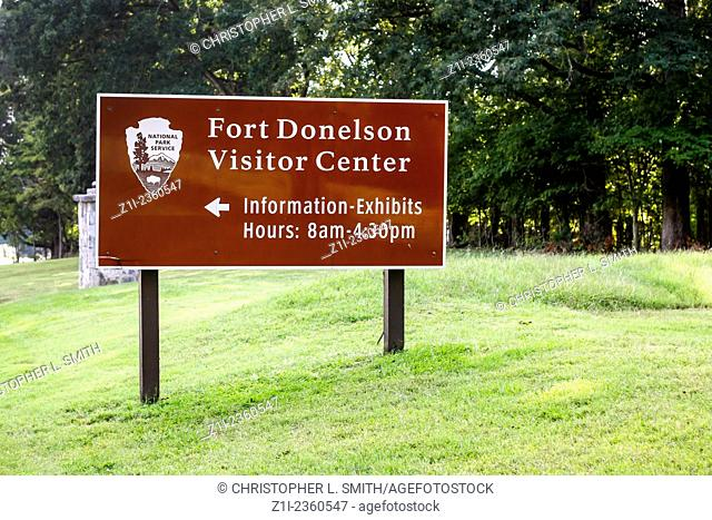 Fort Donelson National Battlefield Tennessee visitor center sign