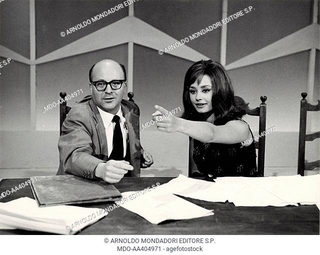 Raffaella Carrà and Lino Procacci in Il paroliere questo sconosciuto. Italian TV presenter, actress, singer and showgirl Raffaella Carrà (Raffaella Maria...