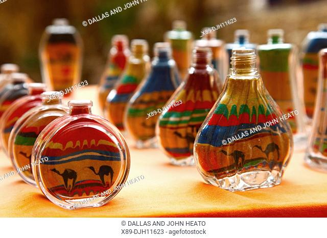 Africa, North Africa, Tunisia, Chebika Oasis, Souvenir Stall, Sand Paintings in Bottles