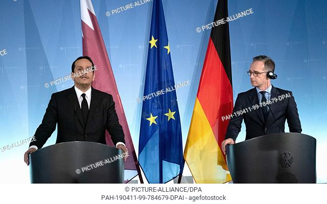 11 April 2019, Berlin: Heiko Maas (SPD), Federal Foreign Minister, and the Qatari Foreign Minister and head of the QIA sovereign wealth fund Mohammed bin...
