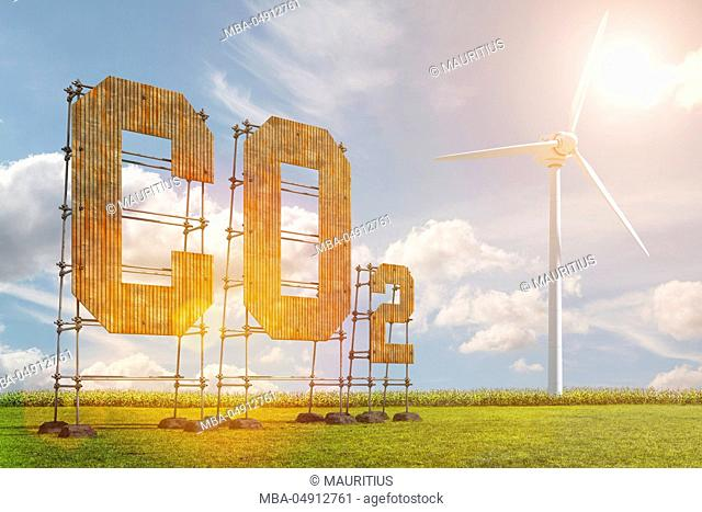 3d, CGI, [M], symbol, Co2, wind energy, pollutant