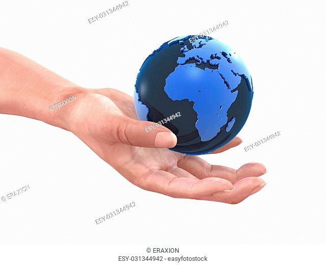 3d rendered illustration of a hand holding a globe
