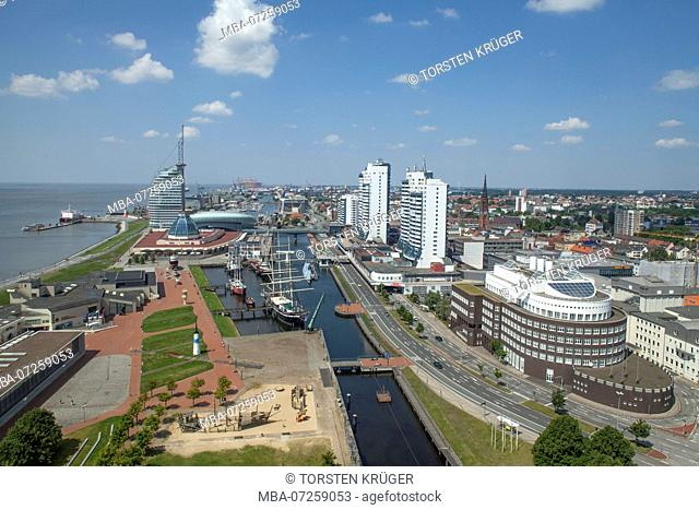 Skyline with Havenwelten and Columbuscenter, view from radar tower, Bremerhaven