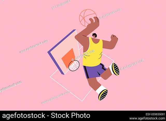 Sport, basketball, health, care concept. Young african american man boy guy athlete player character scoring slam dunk shoot with game ball into basket