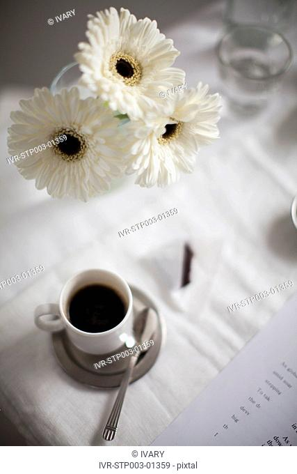 Flowers With Food And Coffee