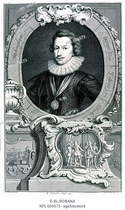 George Villiers 1st Duke of Buckingham  1592 - 1628 . English politician and courtier. Portrait. Image taken from The heads and characters of illustrious...