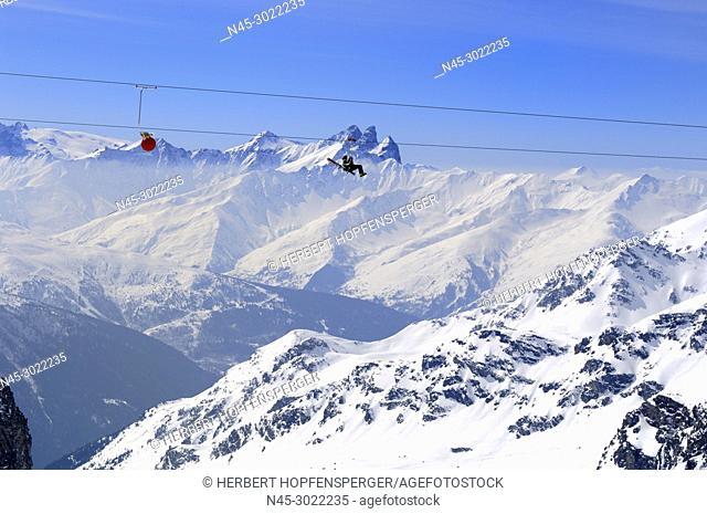 Glacier Du Bouchet, La Tyrolienne 3230m to 3002m, World's highest Zip-Line, Zip Wire Location, €50 per Person, Mountain Range, Haute Savoie, Trois Vallees