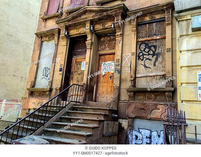 Harlem, New York City, USA. Closed down former crack house in a Harlem Neighborhood