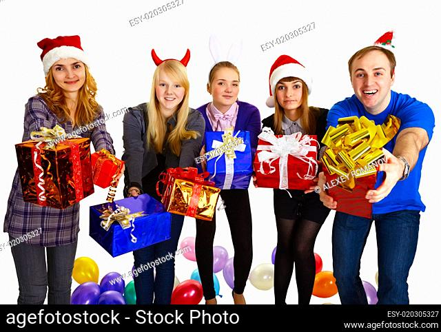 Friends give gifts on New Year's