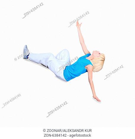 Teenage girl dancing hip-hop over white background