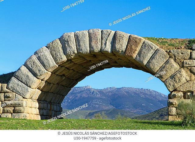 Detail of roman bridge of Alconetar, in Caceres province, Extremadura, Spain