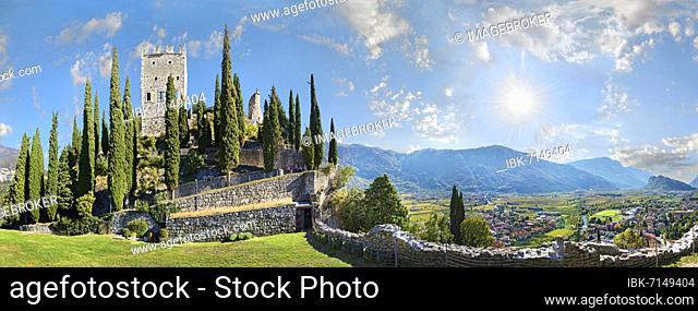 Medieval castle ruins Castello di Arco and valley view to Valle de Sarco, Arco, Lake Garda North, Trento, Trentino-Alto Adige, Italy, Europe