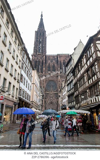 Cityscape in Strasbourg in Alsace France Cathedral view