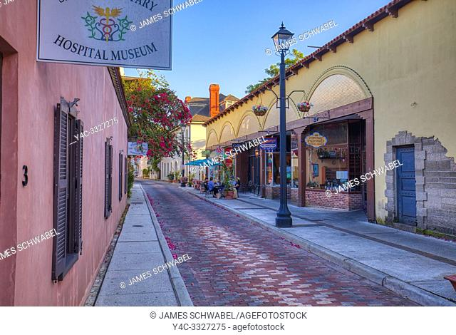 Aviles Street in historic old town section of St Augustine Florida