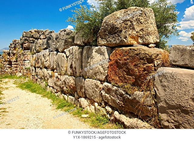 'Gigantic' stone wall & gate to Tiryns        or        Mycenaean city archaeological site, Peloponnesos, Greece  A UNESCO World Heritage Site