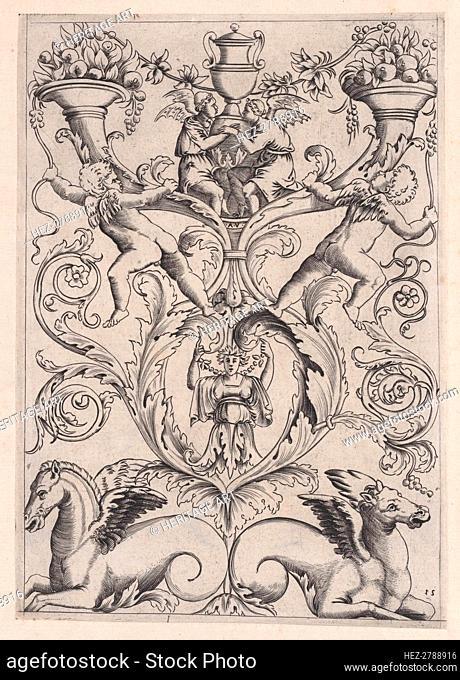 Ornamental Panel, ca. 1514-36. Creator: Agostino Veneziano