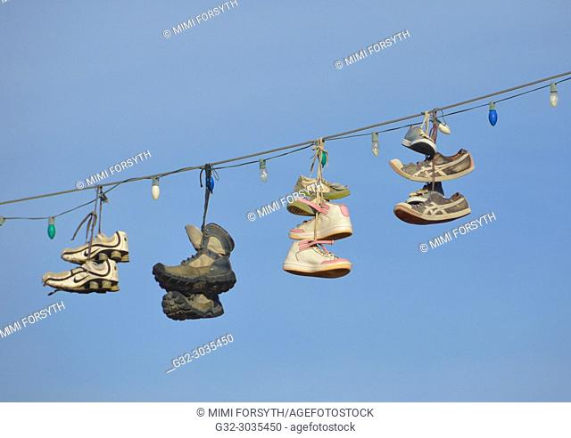 shoes hanging on power line, New Mexico