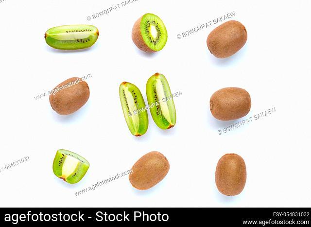 Kiwi fruit with slices isolated on white background