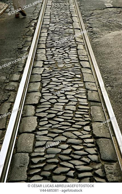 Tram rails detail, Alfama Quarter. Lisbon, Portugal