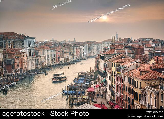 Aerial view of the Grand Canal in Venice at sunset