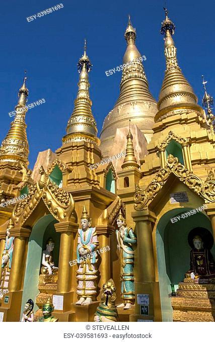 The Shwedagon Pagoda complex, officially titled Shwedagon Zedi Daw. In the city of Yangon in Myanmar (Burma)
