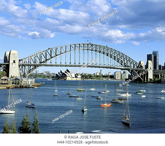 10214528, Australia, harbor basin, Harbour bridge, opera, sailing ships, skyline, Sydney